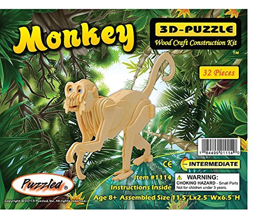 All4LessShop 3 D Wooden Puzzle Small Monkey Affordable Gift for your Little One! Item #DCHI WPZ M009A