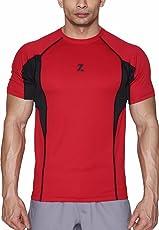 Azani Men's Sub-Zero Tech Short Sleeve Workout Fitness Sports Gym Wear Crimson Black T-Shirt