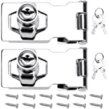 DXLing 2 Pieces Door Bolt Latch Buckle 70mm Door Lock Hasp Chrome Plated with Padlock and Key Hasp Lock Hardware for Locking