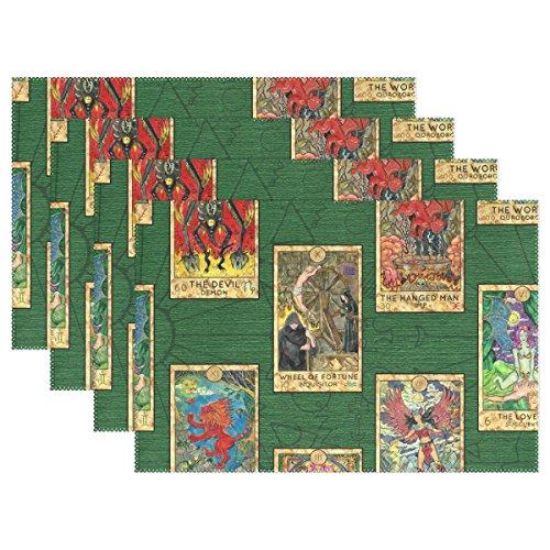mydaily Tarot Karten Vintage Tischsets für Esstisch Set von 4hitzebeständig waschbar Polyester Küche Tisch MATS, Polyester, multi, 12 x 18 inch (Vintage Karte Tischset)