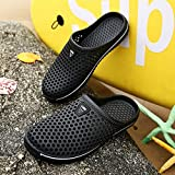 CWJDTXD Zapatillas de verano Medias pantuflas de plástico ligero para hombre Zapatillas de verano para hombres redes de ojos grandes Transpirable Sandalias cómodas Daily Beach Drag femenino, código de 38 zapatillas estándar, negro