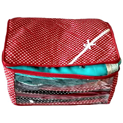 Indi Bargain Luggage Cloth Bag Saree Covers Red 3 Layered Quilted Printed Transparent Cover (upto 10 Sarees Capacity)