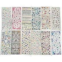a-goo ® 12Pcs adhesivo de transferencia de agua pegatinas de uñas Flores Moda Adhesivo