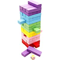 Lewo 48 pièces Classique Blocs Briques en Bois Jeu de Société Jeux de Construction Jeu à Empiler Jouets D'Empilage Jeux…