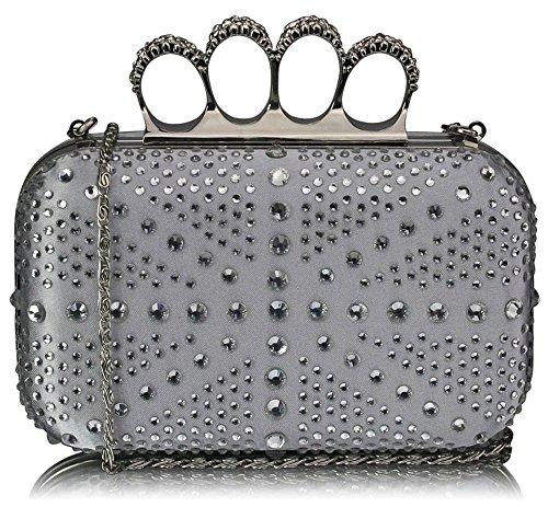 Pochette Perline Alla Moda Scatola Per Signore Diamante Borse Da Sera Donna Festa Di Nozze Nuove Borse B - Argento