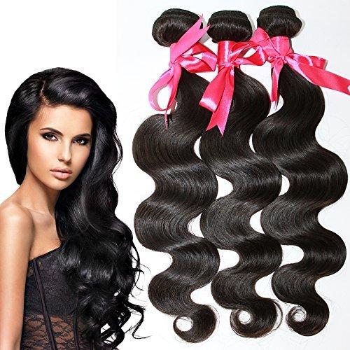 6 A tissage cheveux humains brésiliens vierges brésiliens 3 lots Body Wave Extensions cheveux 35,6 cm 40,6 cm 45,7 cm couleur naturelle