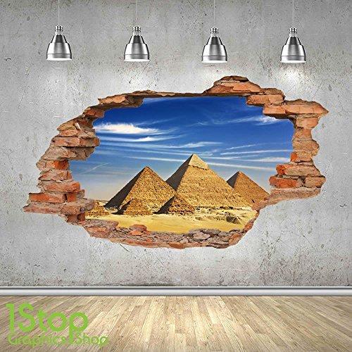 1Stop Graphics Shop Pirámide adhesivo pared 3d Aspecto – Salón Dormitorio EGIPTO CIUDAD adhesivo pared Z449