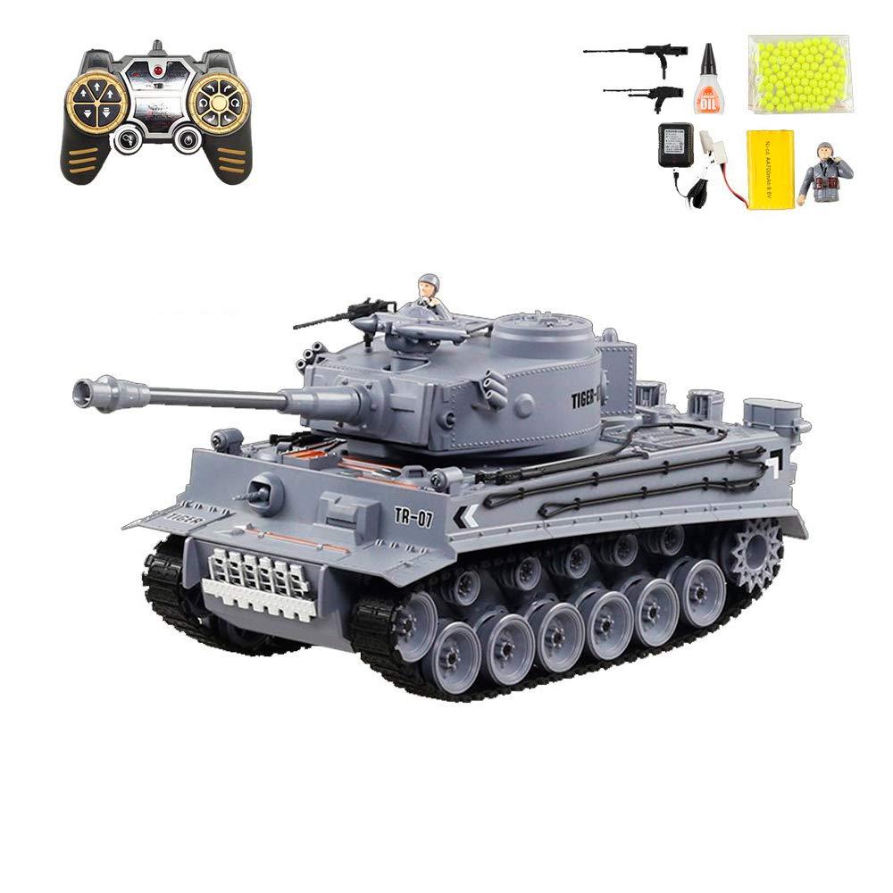 RCTecnic Tanque Teledirigido RC Tiger | Escala 1:18 | Airsoft + Efectos Sonido + Humo + Figura Militar | 3 Velocidades Maqueta de Tanque Radiocontrol