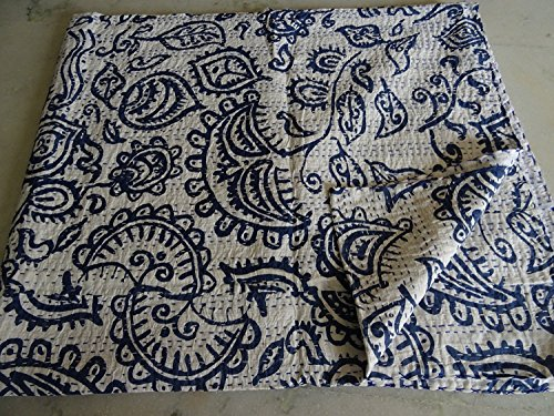 Sophia Art Indian Kantha Suzani Print Quilt Vintage Hand Block gedruckt Kantha Quilt, Patchwork Baumwolle Tagesdecke, hergestellt (blau) -