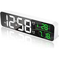 MOSUO Réveil Numérique, Horloge Murale Réveil Matin LED Digital Miroir Grand Ecran avec Température Date, 2 Alarme, 40…