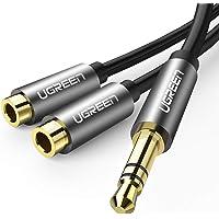 UGREEN 10532 Audio Klinken Y Aux Verlängerung 20cm Stereo audiokabel Splitter 3.5mm Kopfhörer Verlängerung für Handys, Schwarz