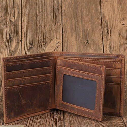 Männer horizontale Tasche, horizontale Herren Portemonnaie, Leder Herren Geldbörse, Braun Brown