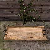 Antikas - Tablett aus Massivholz, Rustikales Servierbrett mit Metallgriff, nostalgisch