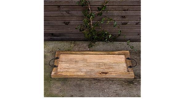 Rustikales Servierbrett mit Metallgriff Tablett aus Massivholz nostalgisch