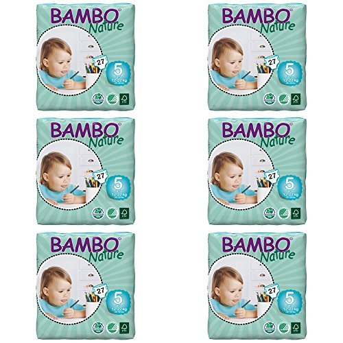 Bambo Nature Eco Pañales, Junior/tamaño 5, 12A 22kg, (por pack, pack de 6