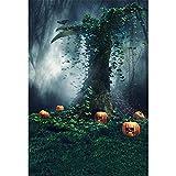 Misterioso bosque calabazas fotografía telón de fondo Halloween vacaciones árbol antiguo araña Web niños fotos fondos de Studio 5X 7ft