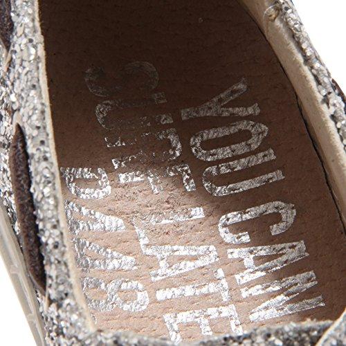 5378O mocassino donna P448 argento shoe woman glitter Argento