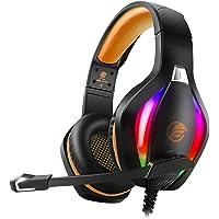 Fachixy Cuffie con Luce RGB, Cuffie da Gaming con Eliminazione del Rumore con Microfono, Cuffie da Gioco Stereo Surround…