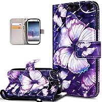Galaxy S3 Hülle,Galaxy S3 Neo Hülle,ikasus 3D Bunte Gemalte Schmetterlings Muster PU Lederhülle Flip Ständer Wallet Handy Hülle Tasche Handy Tasche Schutzhülle für Galaxy S3/S3 Neo,Lila Schmetterling