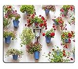 Liili Mauspad natur Gummi Mousepads blau Blumentöpfe und rot Blumen auf einer weiß Wand mit Vintage Laterne Alten europäischen Town Spanien 29644356
