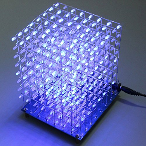 61WFhruGSyL - Arduino DIY sansido cuadrado 8x 8x 8LED de luz Cube 3d Electronic Soldering sarter Kit Board (LED azul)