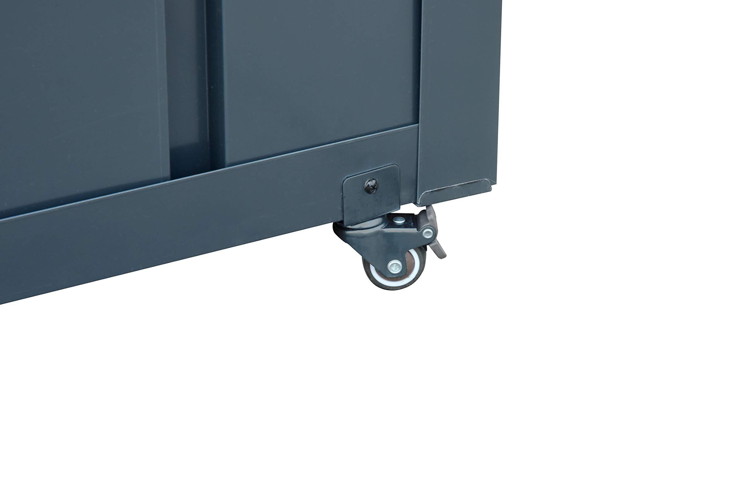 Gartenaufbewahrungsbox aus Metall, anthrazit – 400 Liter – inkl. Schlüssel – trockene und sichere Lagerung von Kissen, Gartenutensilien und Spielzeug – stabile Metallbox für Haus, Garten und Balkon