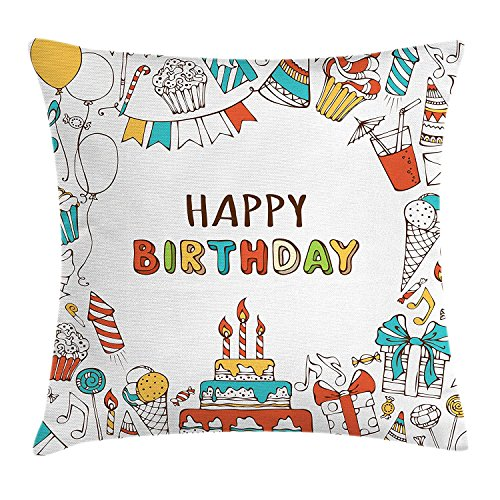 Birthday Throw Pillow Cushion Cover, Hand Drawn Sweets Dessert Party Themed Colorful Hats Garland Balloons and Candles, Decorative Square Accent Pillow Case, 20 X 20 inches, Multicolor Blue Garland Dessert