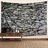 Dremisland Grau Backstein Wand Stein Tapisserie Polyester Stoff Backstein Wand Thema Wandteppich Wandbehang für Schlafzimmer Wohnzimmer (Jahrgang Backstein, L / 148 X 200 cm(58