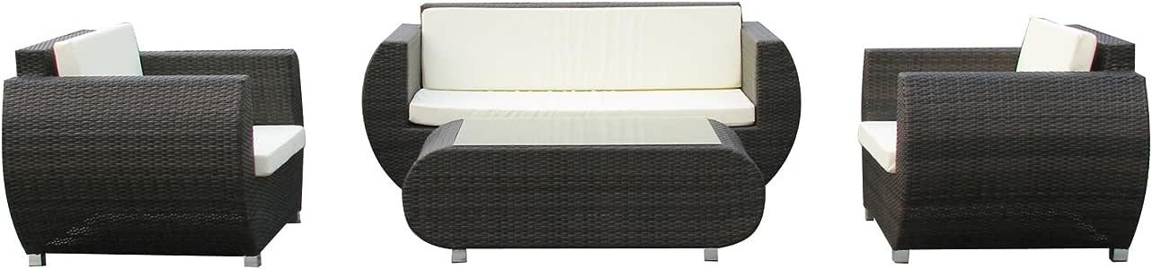 gartenm bel rattan lounge set malaga mit alu gestell neu xxl. Black Bedroom Furniture Sets. Home Design Ideas