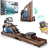 Bluefin Fitness Blade Aqua W-1 | Rameur à Eau électrique | 100% Bois de frêne | Rameur Pliable pour Usage à Domicile | Ecran