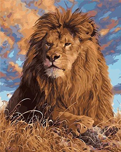 YEESAM ART Neuerscheinungen Malen nach Zahlen für Erwachsene Kinder - Löwe 16 * 20 Zoll Leinen Segeltuch - DIY ölgemälde ölfarben Weihnachten Geschenke