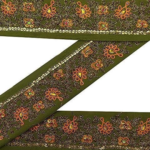 Jahrgang indische Hand wulstige Gebrauchte Sari Border-Grün-Band Nähen 1YD Spitzenbesatz (Spitzenbesatz Craft)