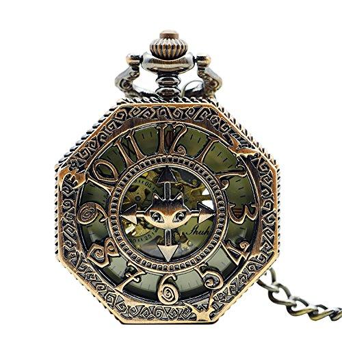 Icegrey Fantasie Märchen Taschenuhr Mit Gravur Kompass Form Mechanisch Taschenuhr Anhänger mit Halskette Kette Pocket Watch