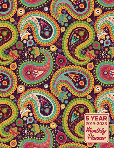5 Year 2019 - 2023 Monthly Planner: Paisley Pattern Calendar Planner and Notebook 8.5x11 144 ()