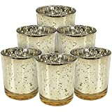 Collectible India Mercury Votive Tealight Candle Holder - Glass Candle Holder Stand For Home Decoration - Pack Of 6