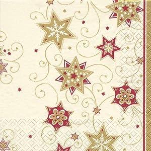 20 Servietten Stars and Swirls gold – Sterne & Wirbel gold / Weihnachten / Ornamente 33x33cm