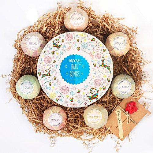 Bombe de Bains Effervescente Noel Coffret Cadeau Boule De Bain Colorante Bombe Bain Boules Effervescentes 3.5 OZ (7 Différents Parfums)