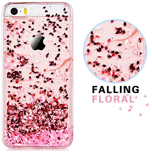 For iPhone 5 / 5S / SE Case, Yokata 3D Creative Liquid Case Transparent Impact Resistant Elegant Adorable Pink Plum Blossom Flower Petal Painting Pattern Flowing Quicksand Luxury Bling Sequins Shiny Sparkle Glitters Clear PC Hard Back Protective Case for iPhone 5 / 5S / SE