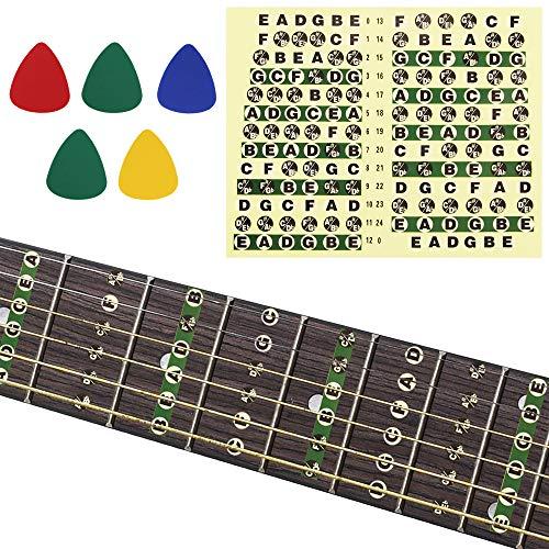 Buzifu 2 Stück Gitarren-Sticker Gitarren-Lern-Aufkleber Gitarren-Trainer Karte mit 5 Plektren Gitarren-Griffbrett Bundkarte Noten Aufkleber für Anfänger/Lernen, Gitarre, Standard Edition -