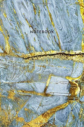 Notebook: Blue & Gold Marble - Notizbuch in moderner Marmor Optik   ca. DIN A5 (6x9\'\'), kariert, 108 Seiten, Blauer Marmor mit Gold   für Notizen, ... Organizer, Kalender, Semesterplaner, Journal