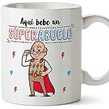 MUGFFINS Taza Abuelo - Aquí Bebe Un Super Abuelo - Taza Desayuno/Idea Regalo Original/Día del Padre para Abuelitos. Cerámica