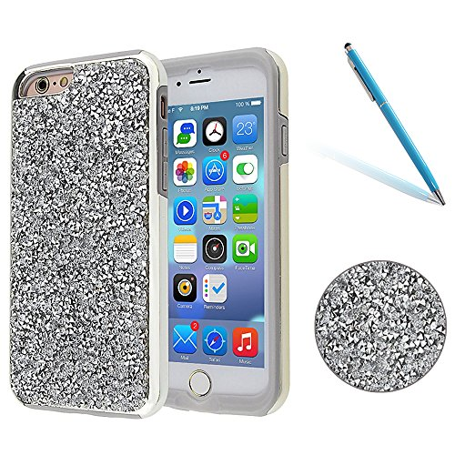 """iPhone 6 Hülle, Glitzer-Strass CLTPY iPhone 6s Handytasche 2 in 1 Hybrid Weich Silikon Schale mit Überzug Farbig Rahmen für 4.7"""" Apple iPhone 6/6s + 1 x Stift - Lila Silber"""