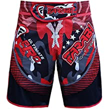 Farabi MMA Shorts Grappling Cage Fight Training Match Kick Boxing Ultimate Pro Series Red and Black Color (Large)