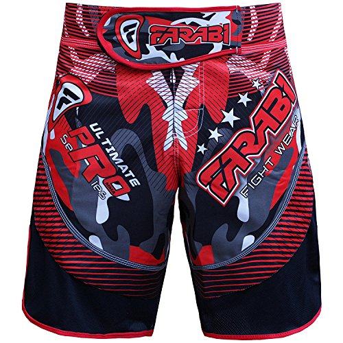 Farabi MMA Shorts Grappling Cage Fight Training Match Kick Boxing Ultimate Pro Series Red and Black Color (Large) (Muay Thai Shorts Camo)