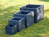 Pflanzkübel 4er Set quadratisch anthrazit