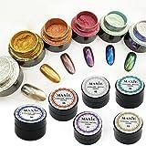 spiegel pulver set 6farben zauberspiegel metallisch nagellack wirkung chrome refective chrome metallisches pulver set nagel pulver nail art additiven