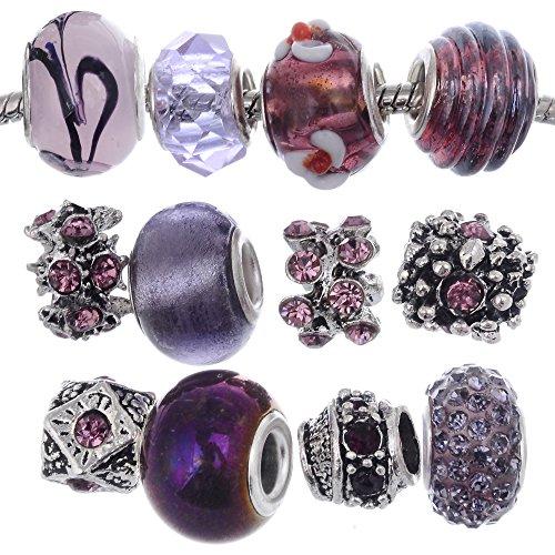 rubyca Murano Lampwork Charm Glas Perlen tibetanisch Kristall Europäische Charm-Armband Mix Sortiment violett