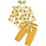 Bebé Recién Nacida 3 Piezas Conjunto Ropa para Niñas Pequeñas Top Mameluco de Manga Larga + Pantalones Largos + Diadema de Bo