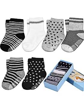 Baby ABS Socken, Anti Rutsch Socken für 12-36 Monate Baby Mädchen und jungen,Antirutsch6-PackBabysocken Box...