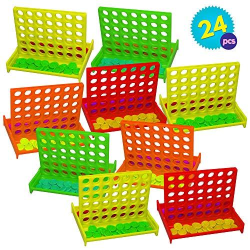 Granel Mini Juegos de Mesa Conecta 4 en una fila - 24 piezas Por Paquete - 4 colores diferentes - Ideales Para Niños Fiestas Cumpleaños, Premios de la clase - Regalos juguetes relleno bolsas